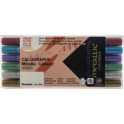 Zig Memory System Calligraphy Metallic Dual Tip Marker, 6-Pack