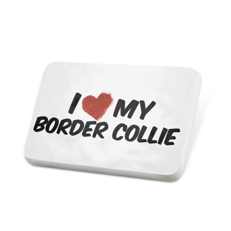 Scottish Border Collie - Porcelein Pin I Love my Border Collie Dog from Scotland, England, Wales Lapel Badge – NEONBLOND
