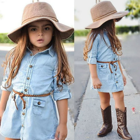 Baby Kids Girl Denim Short Mini Dress Jean Long Sleeve Casual Party Shirt Dress - Casual Dress For Girls