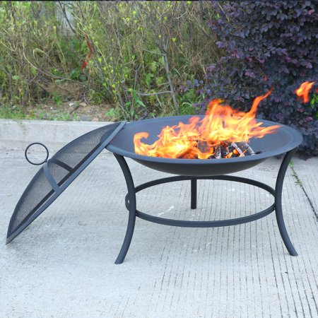 MICASA 29-inch Fire Pit with Spark Screen. For outdoor wood-burning or charcoal use only!