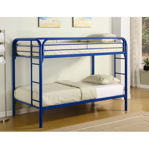 Coaster Twin Over Twin Metal Bunk Bed, Blue