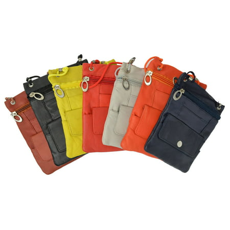 - Elegance Look Leather Cross Body Bag Leather Shoulder Purse w Zipper Pocket Different Colors 1410 (C) Purple