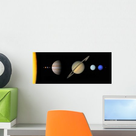 Solar System to Scale Wall Mural by Wallmonkeys Peel and Stick Graphic (18 in W x 7 in H) WM241958 ()