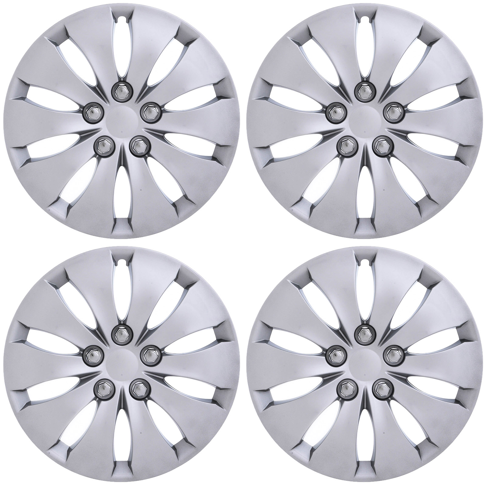 """CoverTrend (Set of 4 Pack) fits 2008 2009 2011 2012 HONDA ACCORD 16"""" INCH Replica Snap On (Metal Clip) SILVER Hub Caps - Wheel Covers - Cap (Replaces 44733TA0A00, 44733TA5A00)"""