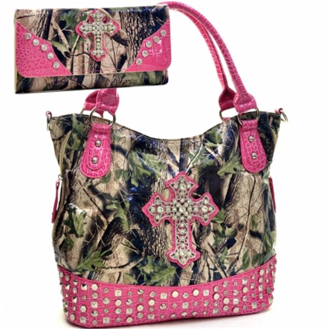 Ritz Enterprises CRL662WC105SET-PK-CAM Western Camouflage Cross Accent Rhinestone Bling Purse With Matching Wallet - Pink & Camo