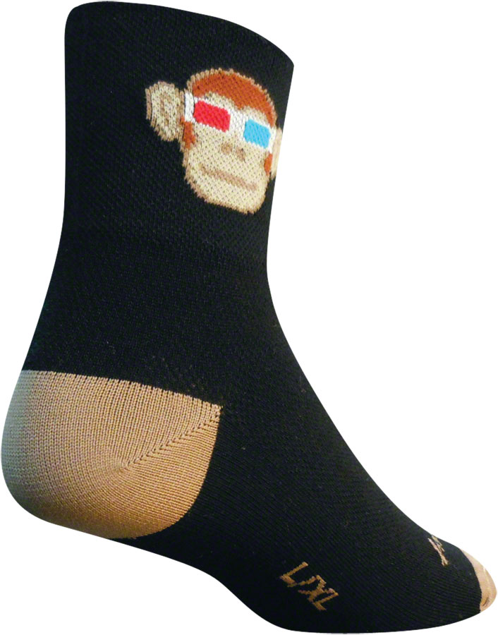 SockGuy Monkey See 3D Sock: Black/Tan LG/XL