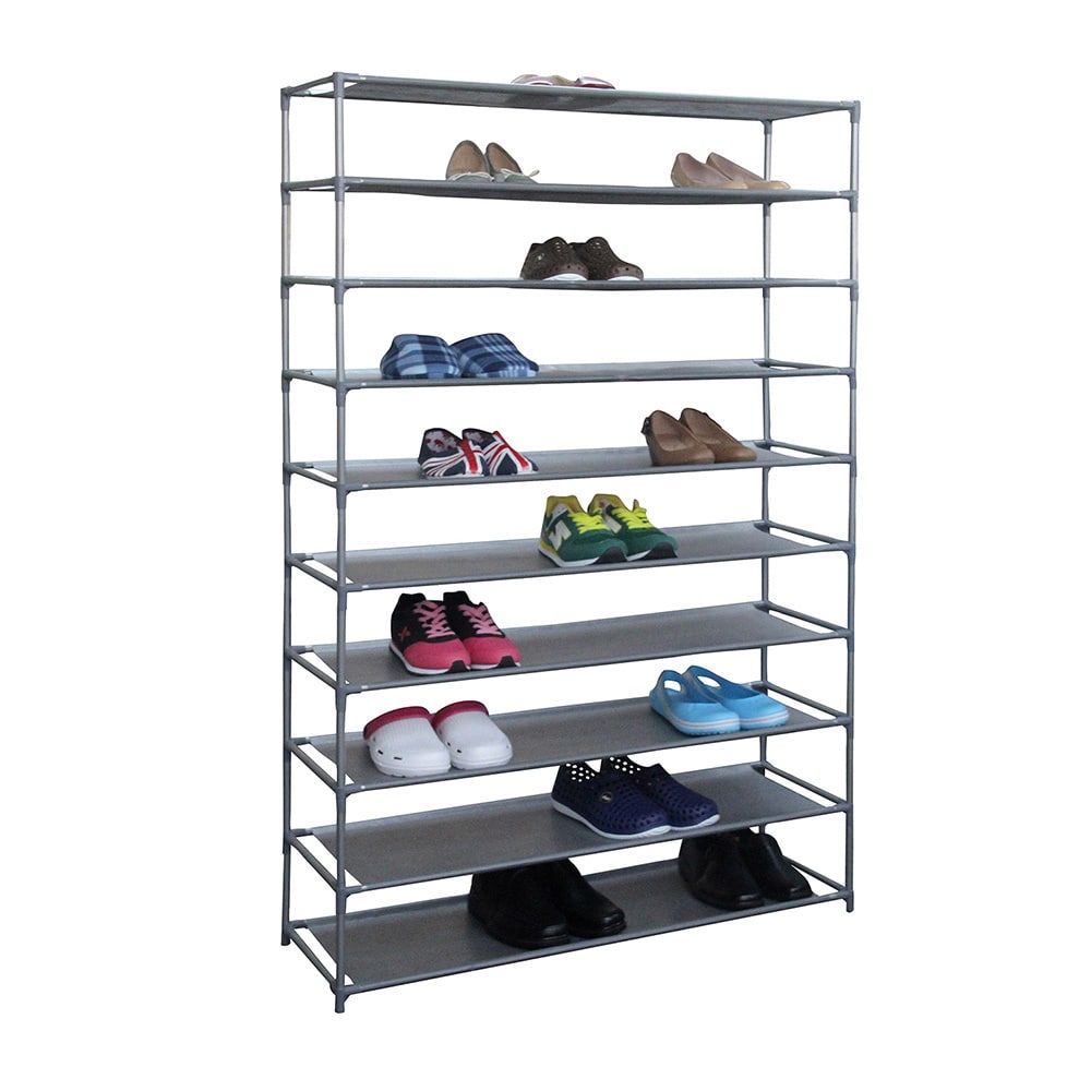 Sunbeam Home Basics Grey Fabric Non Woven Extra-wide 50-pair Shoe Rack Storage Shelving