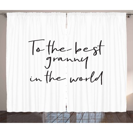 Grandma Curtains 2 Panels Set, Brush Calligraphy Hand Drawn Quote the Best Granny in the World Monochrome Design, Window Drapes for Living Room Bedroom, 108W X 108L Inches, Black White, by