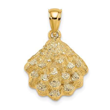 14k Gold Oyster (14k Yellow Gold 2-D TEXTURED OYSTER SHELL Charm Pendant)