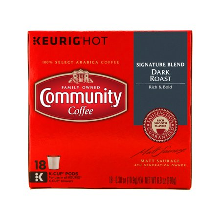 Community Coffee Single-Serve Cups Signature Blend Dark Roast Coffee, 18 Count