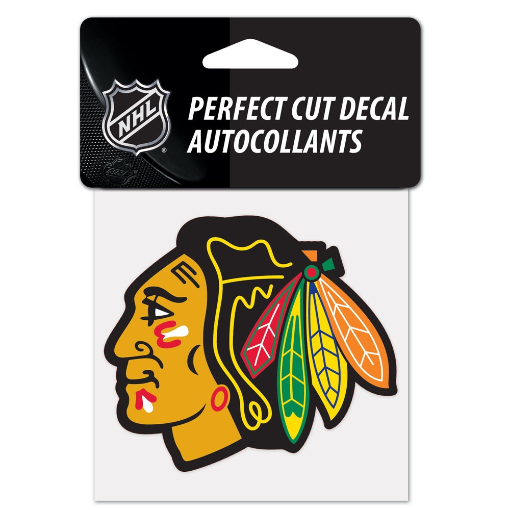Chicago Blackhawks Official NHL 4 inch x 4 inch  Die Cut Car Decal by Wincraft