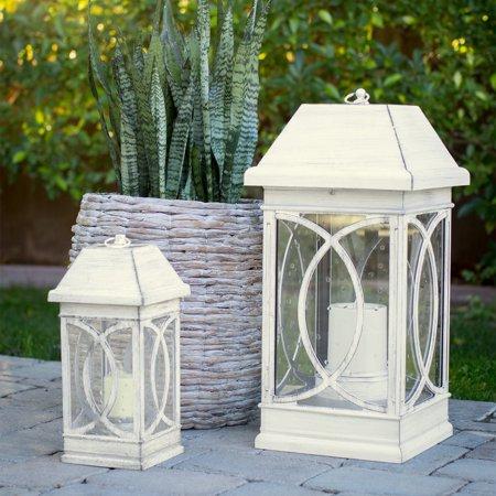 Belham Living San Vicente Estate Solar Lantern - Distressed White - Set of 2
