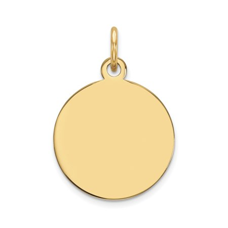 14k Yellow Gold .009 Gauge Circular Engravable Disc Pendant Charm Necklace Round -