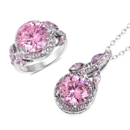"""Statement Ring Chain Pendant Necklace Stainless Steel Round Pink Cubic Zirconia CZ Gift Jewelry for Women Size 8 & 20"""" Cttw 4.1"""