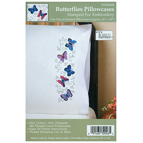 "Stamped Pillowcase Pair For Embroidery, Butterflies, 20"" x 30"""