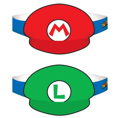 Super Mario Paper Hats - (8 Pack) - Party Supplies