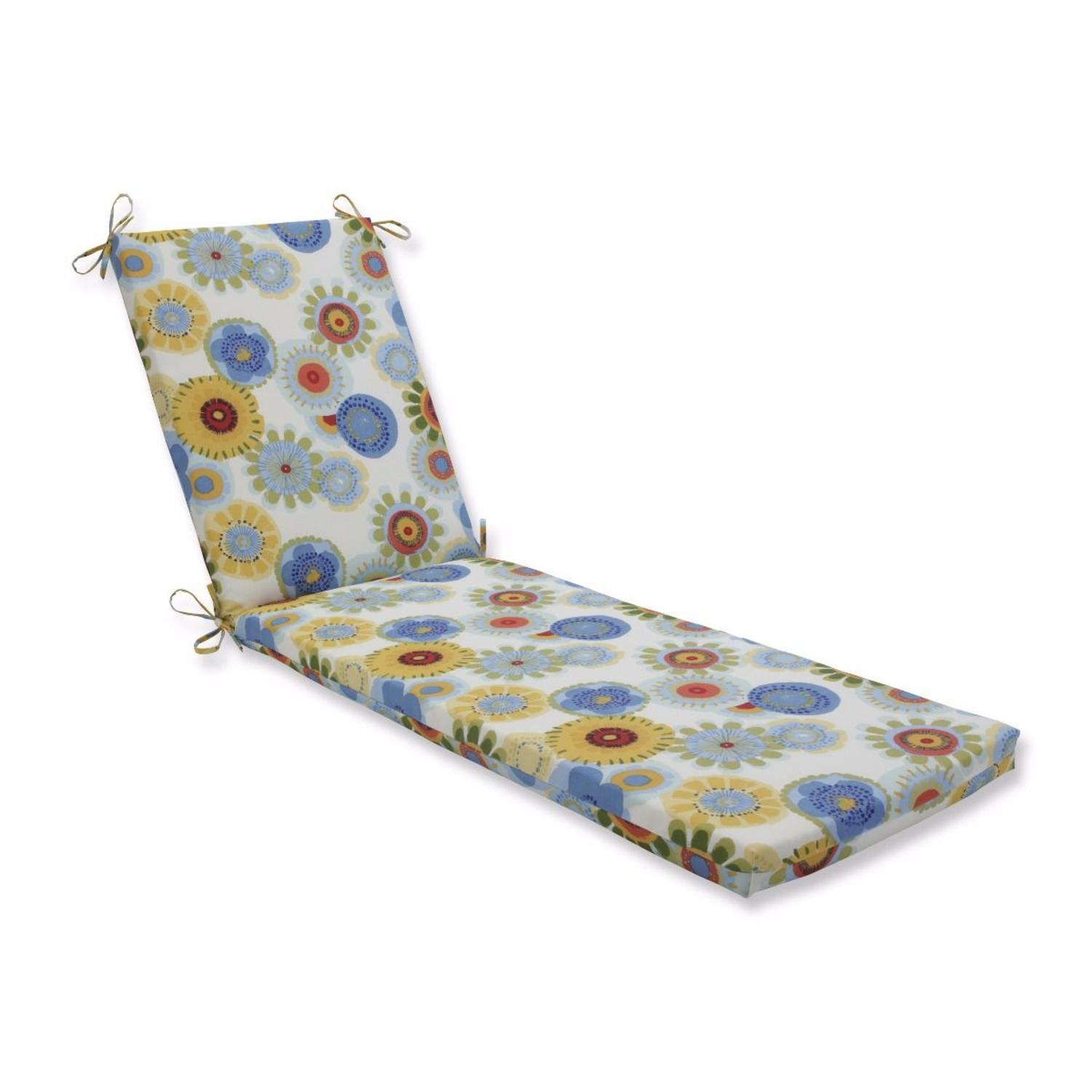"""80"""" Yellow and Blue Floral UV Resistant Outdoor Patio Rectangular Chaise Lounge Cushion"""