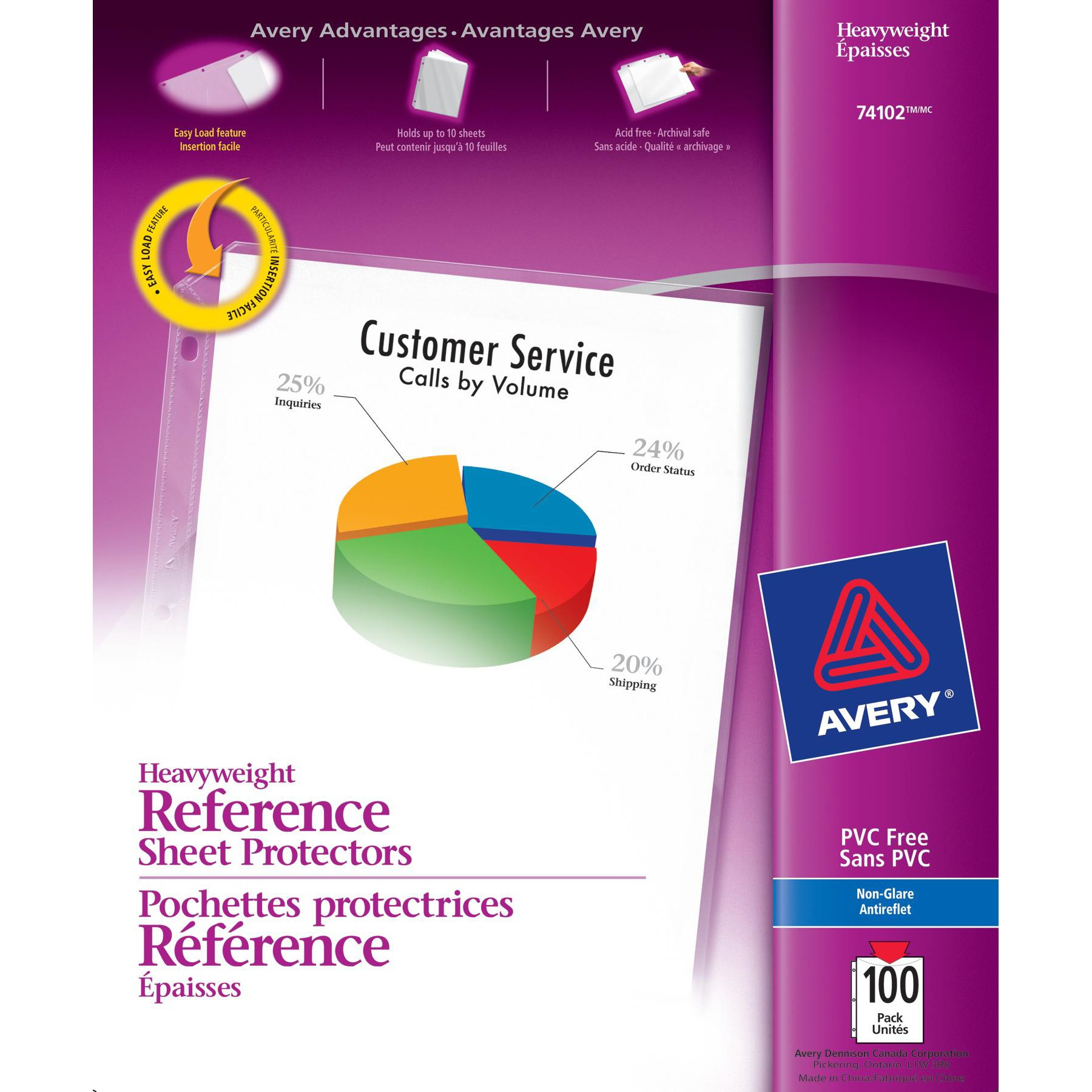 Avery Nonglare Heavyweight Sheet Protectors, 100 Protectors (74102)