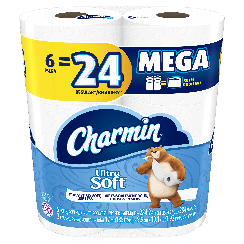 Charmin Ultra Soft Toilet Paper, 6 Mega Rolls