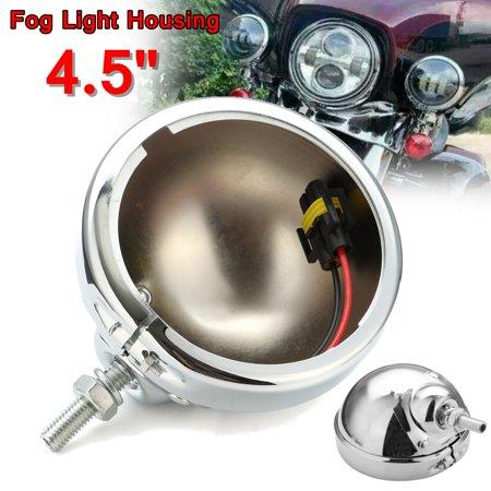 4.5 inch Motorcycle LED Auxiliary Fog Light Burst Cover Trim Bracket Housing Chorme For Harley Davidson