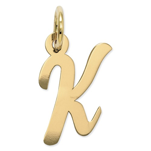 14k Yellow Gold Small Script Initial K Charm (0.7in long x 0.4in wide)
