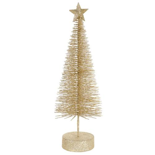 "16"" Champagne Glitter Sisal Artificial Table Top Christmas Tree"