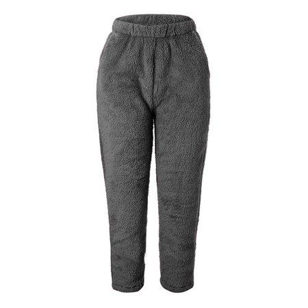 Winter Women Warm Fleece Pants Solid Color Mid-Rise Waist Faux Fur Casual Trousers Homewear - image 3 de 5