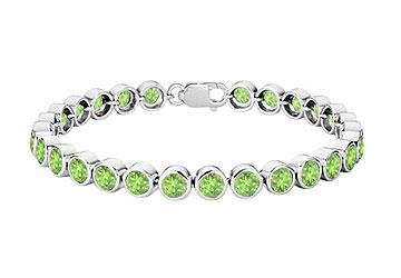 Peridot Bezel Set Tennis Bracelet 925 Sterling Silver 25.00 CT TGW by Love Bright