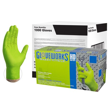 Gloveworks Heavy Duty Nitrile Latex-Free Industrial Gloves, Large, Green, - Green Gloves