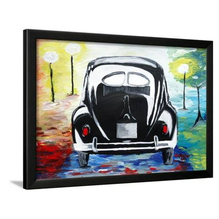 Surf VW Bug Series - The Black Volkswagen Bug Split Window Framed Print Wall Art By Martina Bleichner