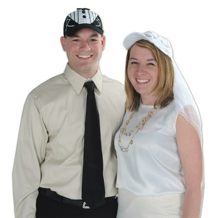 Club Pack of 12 Wedding or Anniversary Themed Black Tux Cap Costume (70's Themed Group Costumes)