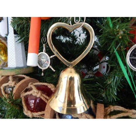 Handcrafted Model Ships Br18521 Heart Xmass Brass Heart Bell Christmas Tree Ornament