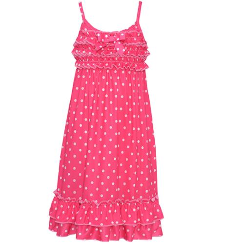 Laura Dare Little Girls Fuchsia White Dot Narrow Strap Ruffle Nightgown 4-6X