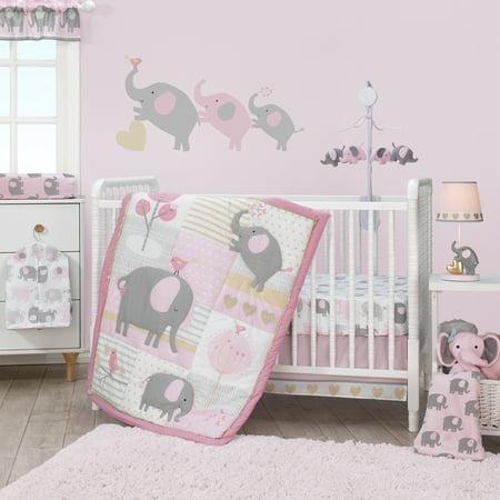 Bedtime Originals Eloise 3-Piece Crib Bedding Set - Pink, Gray, White, Animals