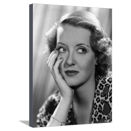 Davis Art Center (Bette Davis Portrait with Hand on Face in Leopard Stretched Canvas Print Wall Art By Elmer)