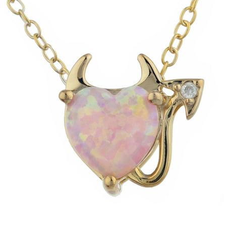 Pink Opal & Diamond Devil Heart Pendant 14Kt Yellow Gold Silver (Opal Diamond Necklace)