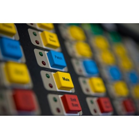 Buttons line a switchboard aboard the Kent County mobile incident command vehicle Sept. 22, 2016, on Poster Print 24 x 36