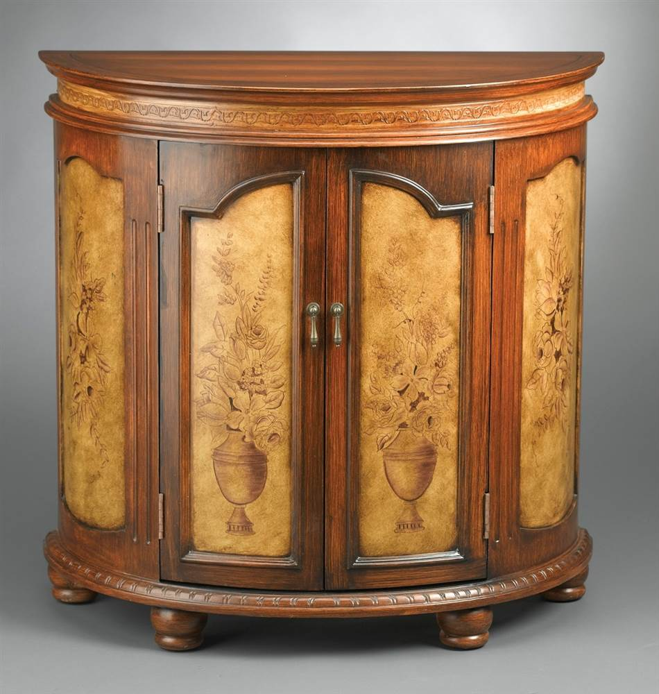 AA Wood Cabinet w Hand-Painted Floral Design & Carved Acc...