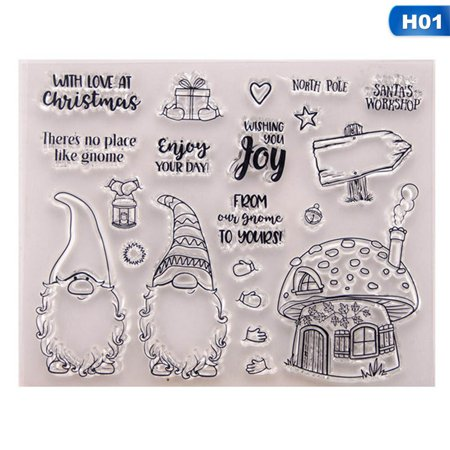 KABOER Christmas Santa Clause Transparent Clear Silicone Stamp and Cutting Dies DIY Scrapbooking Photo Album Decorative Card Making ()