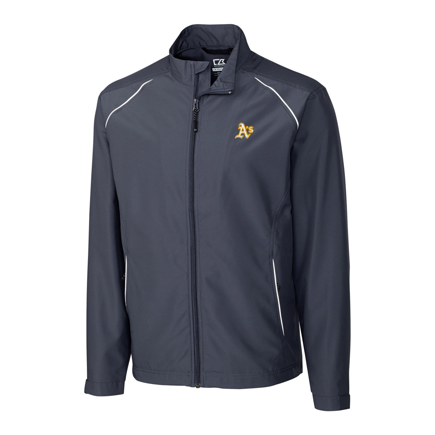 Oakland Athletics Cutter & Buck Big & Tall WeatherTec Beacon Full Zip Jacket - Charcoal