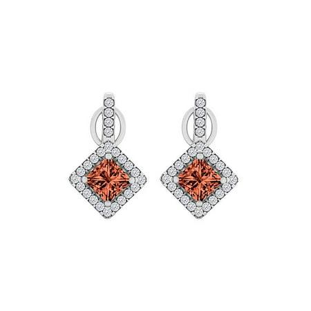 1.25CT 14K White Gold Garnet Cubic Zirconia Square Halo Stud Earrings - image 1 de 1