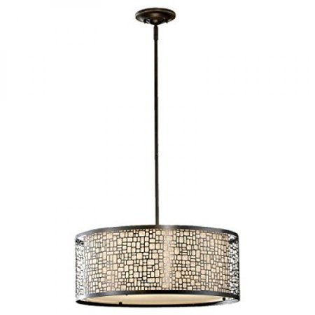 Murray Feiss F2638 3lab Joplin Collection 3 Light Pendant Antique Bronze Finish With Fabric Shade And Gl Diffuser