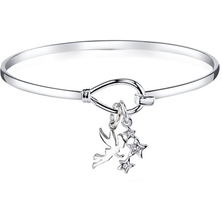 Tinkerbell Heart Charm - Disney Silver-Tone Tinkerbell Bangle Bracelet, 8