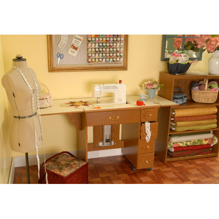 Arrow Auntie Sewing and Craft Table with Storage and Lift, 3 Finishes (Arrow Air Lift Sewing)