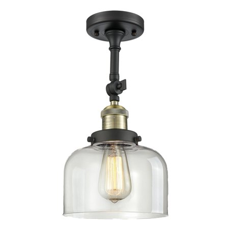 Innovations Lighting  Large Bell 1 Light Adjustable Dimmable Vintage LED Flushmount Black Large Country Bell