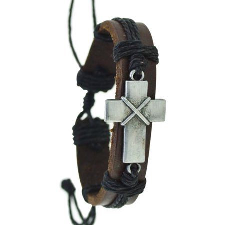 Leather Pull String Christian Cross Religious Black On Dark Brown Bracelet. J-470-A](Cool String Bracelets)