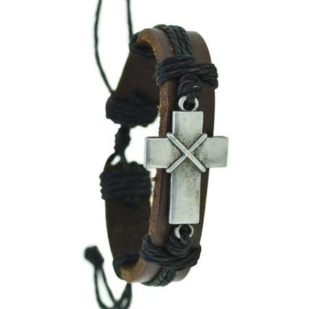 Leather Pull String Christian Cross Religious Black On Dark Brown Bracelet. - Leather String Bracelet