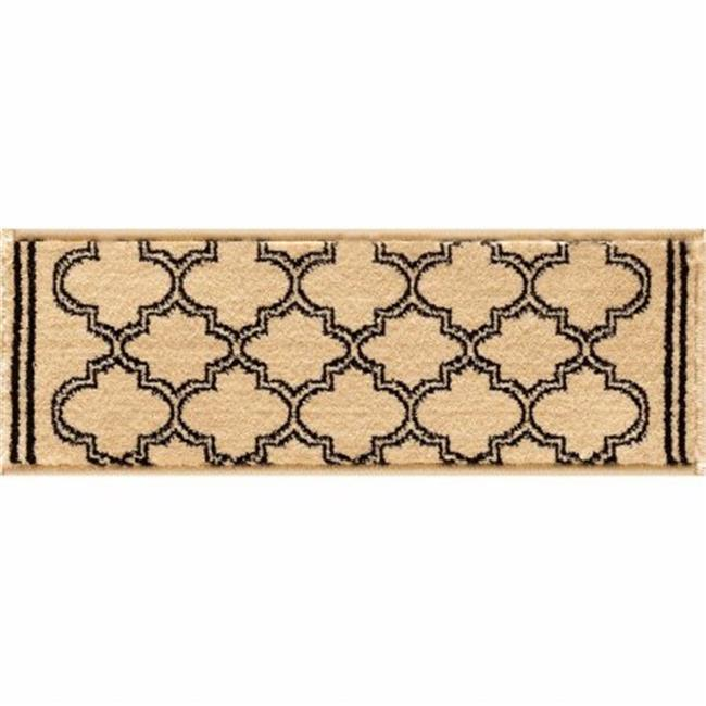 Central Oriental 8267IVST33C Interlude Portico 030 Morocco 100 Percent Heavy-Weight Heat Set Polypropylene Stair Tread Rug, Ivory - 9 x 33 in.