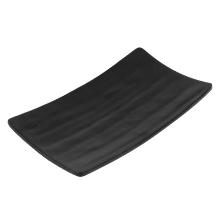 Unique Bargains Dinnerware Rectangle Shaped Sushi Serving Dish Plate Black