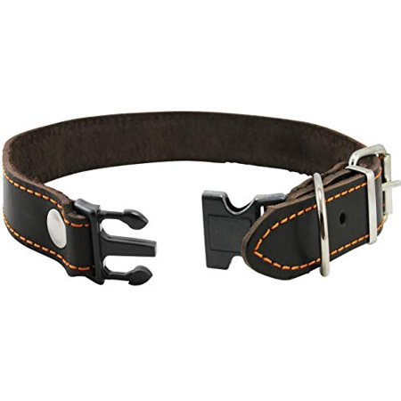 Wide Brown Leather - Brown Quick Release Genuine Leather Classing Dog Collar 1